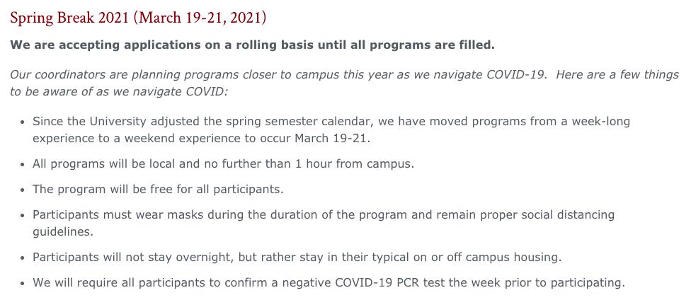 Elon University Spring Break 2021 overview