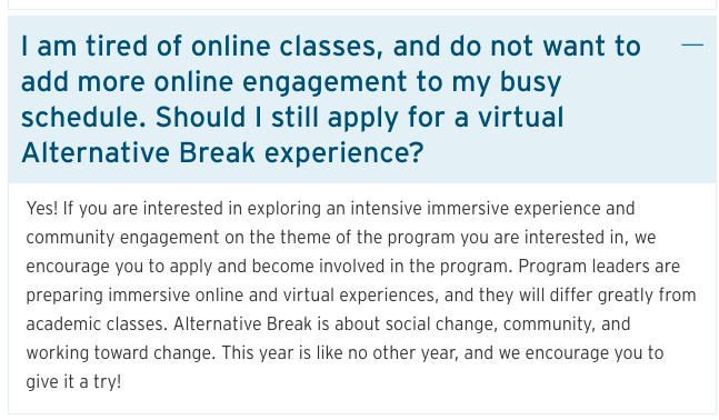 American University Spring Break 2021 online alternative overview